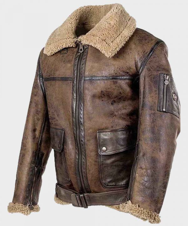 Men's Aviator Brown Distressed Leather Jacket