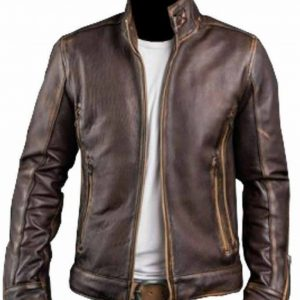 Cafe Racer Distressed Leather Jacket for Men's | Special Sale