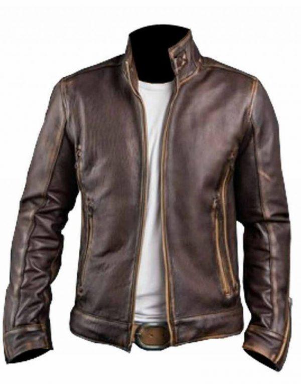 Cafe Racer Distressed Leather Jacket for Men's   Special Sale