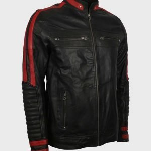 Mens Cafe Racer Red & Black Leather Jacket