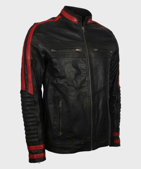 Mens Cafe Racer Red & Black Leather Jacket