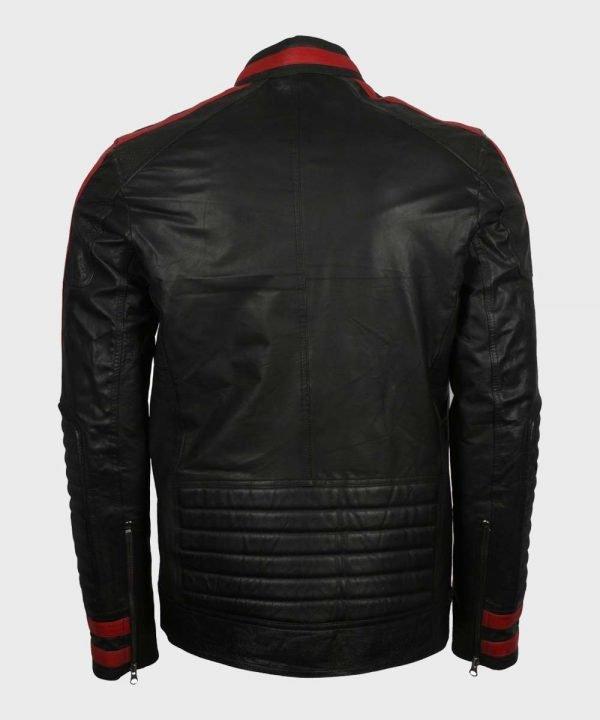 Mens Cafe Racer Red & Black Leather Jacket | Mens Biker Jacket