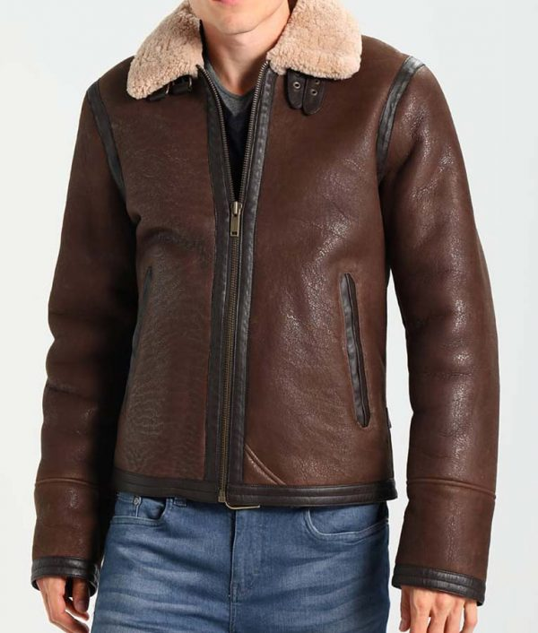 B3 Mens Dark Brown Aviator Style Leather Jacket with Fur Collar