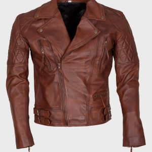 Mens Distressed Brown Leather Motorcycle Jacket   Free Shipping