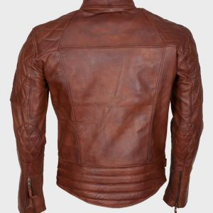 Mens Distressed Brown Leather Motorcycle Jacket