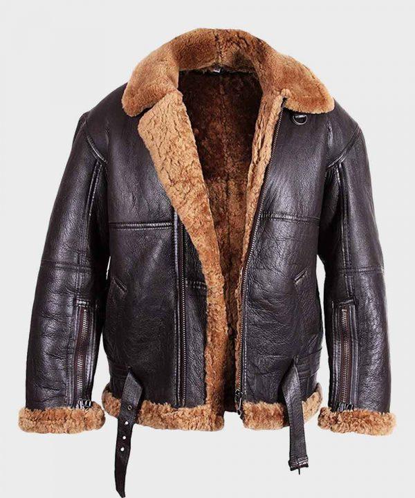 Mens Flying Aviator B3 Sheepskin Shearling Jacket   100% Real Leather