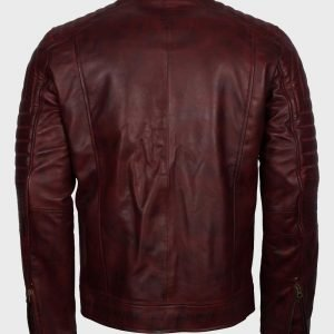 Mens Vintage Cafe Racer Maroon Waxed Leather Jacket