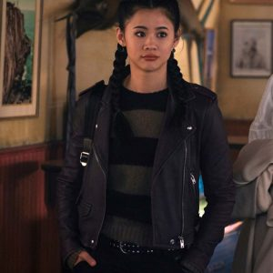 Leah Lewis Nancy Drew George Fan Black Motorcycle Leather Jacket
