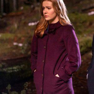Kennedy McMann TV Series Nancy Drew Maroon Trench Wool Coat
