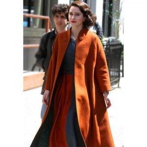 Rachel Brosnahan The Marvelous Mrs. Maisel Orange Trench Wool Coat