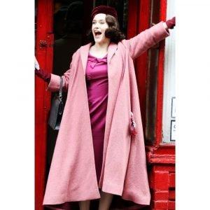 The Marvelous Mrs. Maisel Long Pink Rachel Brosnahan Coat