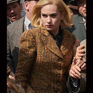 Mrs. de Winter Rebecca Lily James Brown Tweed Blazer Jacket