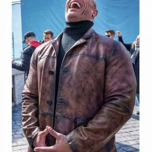 Red Notice Dwayne Johnson Brown Leather Coat Free Shipping