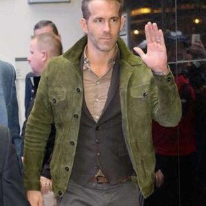 Ryan Reynolds Red Notice Suede Leather Green Jacket