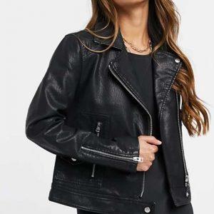 Vanessa Morgan TV Series Riverdale S05 Toni Topaz Black Leather Biker Jacket