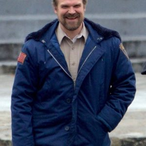 David Harbour Stranger S02 Things Jim Hooper Blue Shearling Jacket