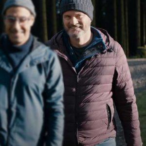 Colin Firth Supernova Sam Maroon Puffer Jacket