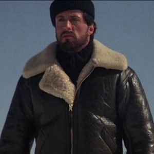 Sylvester Stallone Rocky IV Rocky Balboa Shearling Bomber Brown Leather Jacket