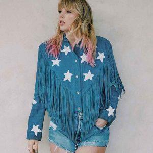 Singer Taylor Swift Fringe Blue Leather Jacket
