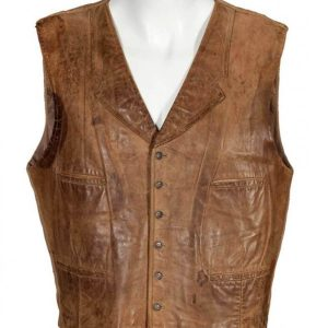 Wil Andersen The Cowboys John Wayne Distressed Brown Leather Vest