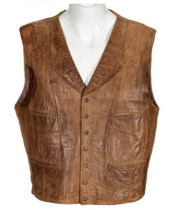 Wil Andersen The Cowboys John Wayne Distressed Brown Leather Vest