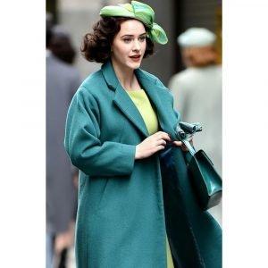 Rachel Brosnahan TV Series The Marvelous Mrs. Maisel Trench Sea Green Coat