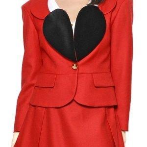 Vivienne Red Blazer | The Vivienne Heart Shape Lapel Red Blazer