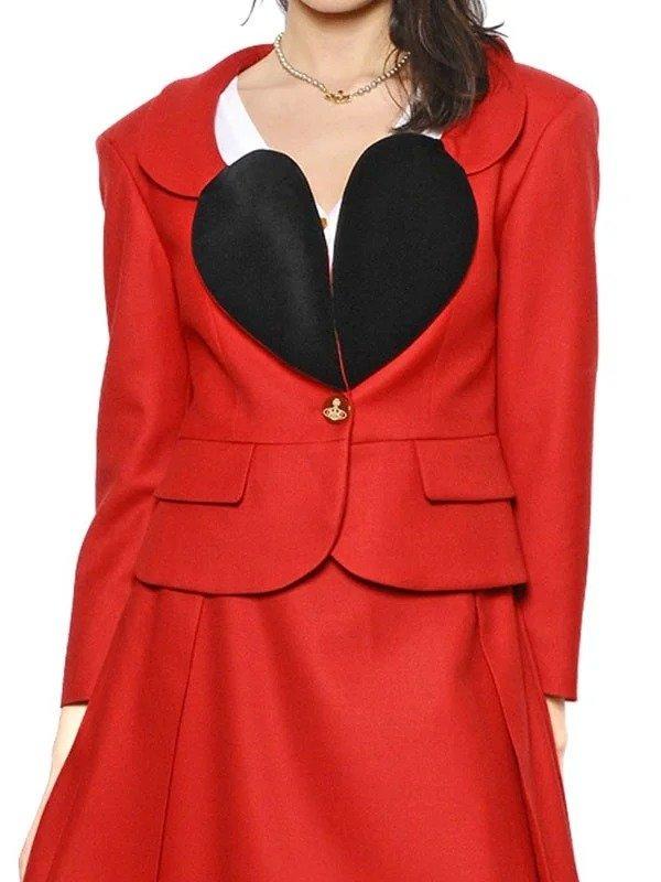 Vivienne Red Blazer   The Vivienne Heart Shape Lapel Red Blazer