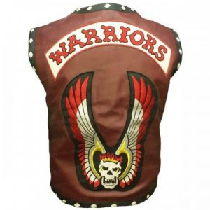 Dark Brown Leather The Warriors Vest with Patches