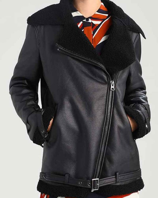 Womens Shearling Aviator Leather Jacket | Asymmetrical Black Jacket