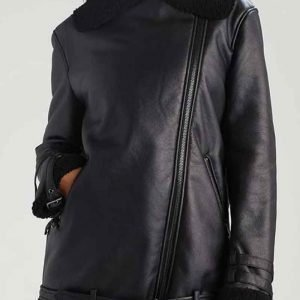 Womens Shearling Aviator Leather Jacket