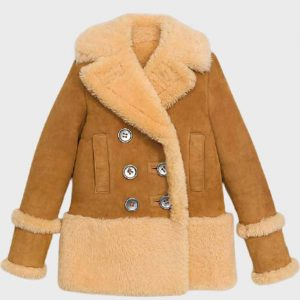 Sheepskin Light Brown Fur Shearling Leather Peacoat For Womens