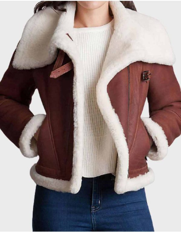 Brown Fur Shearling Sheepskin Leather Jacket For Women's