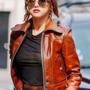 Selena Gomez Brown Leather Jacket
