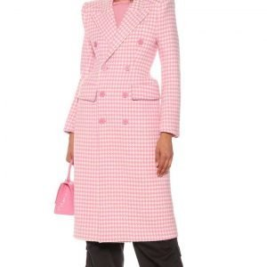 Hilary Duff TV Series Younger S07 Kelsey Peters Pink & White Checkered Coat