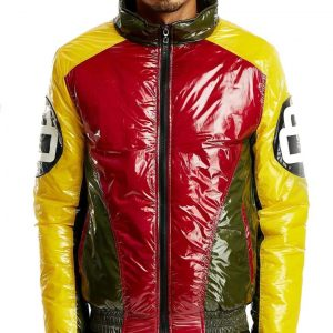 Vintage 8 Ball Bubble Bomber Yellow & Red Jacket