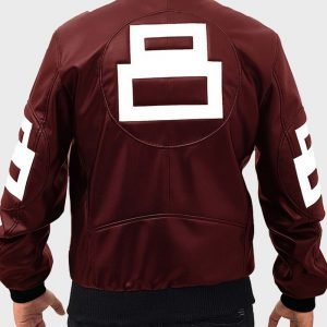 David Puddy TV Series Seinfeld 8 Ball Maroon Leather Bomber Jacket