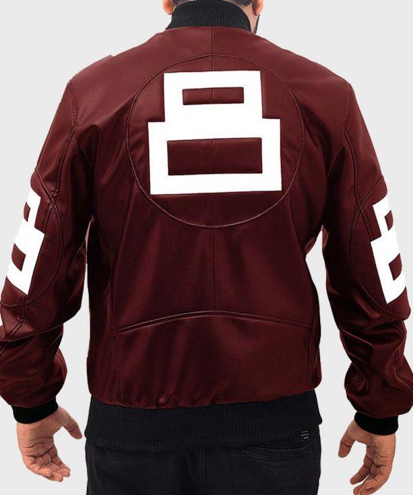 David Puddy TV Series Seinfeld 8 Ball Maroon Leather Bomber Jacket