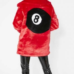 8 Ball Red Faux Fur Jacket 8 Ball Red Fur Jacket for Womens