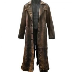 Distressed Brown Leather Batman Knightmare Future Coat