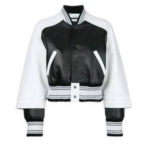 Paris Buckingham Bold and the Beautiful White & Black Leather Bomber Jacket