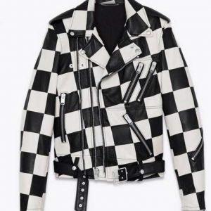 Paris Buckingham TV Series Black and White Bold and the Beautiful Checkered Moto Jacket