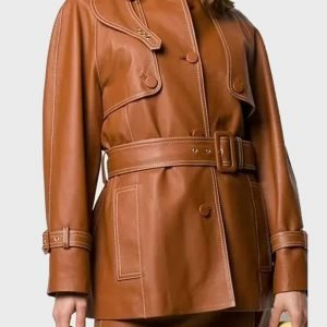 Womens-Belted-Brown-Coat