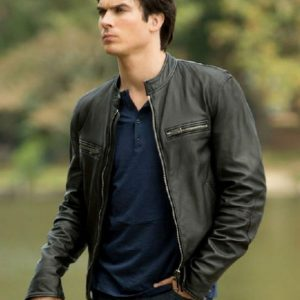 Ian Somerhalder TV Series Vampire Diaries Damon Salvatore Leather Jacket