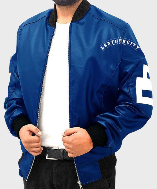 8 Ball Blue Leather Bomber Jacket