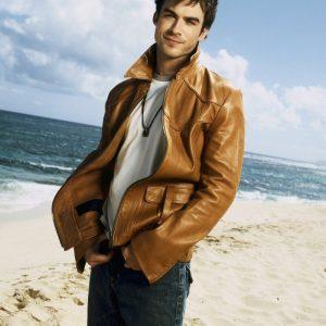 Brown Ian Somerhalder TV Series Vampire Diaries Leather Jacket