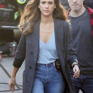 Nancy McKenna L.A.'s Finest Jessica Alba Dark Grey Plaid Blazer