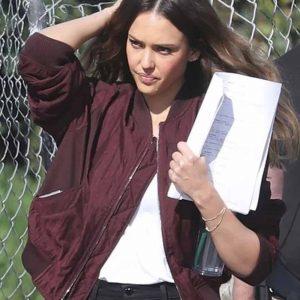 Nancy McKenna L.A.'s Finest Jessica Alba Maroon Bomber Jacket