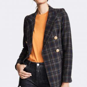 Jessica Alba TV Series L.A.'s Finest Season 02 Nancy McKenna Black Plaid Blazer
