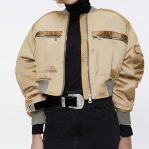 LA's Finest S02 Sydney Burnett Golden Satin Cropped Bomber Jacket